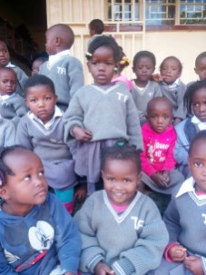 Stella with her school mates at the nursery