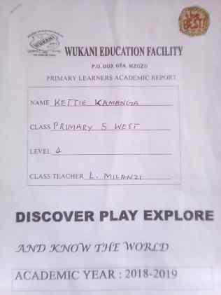 Katie's school report cover