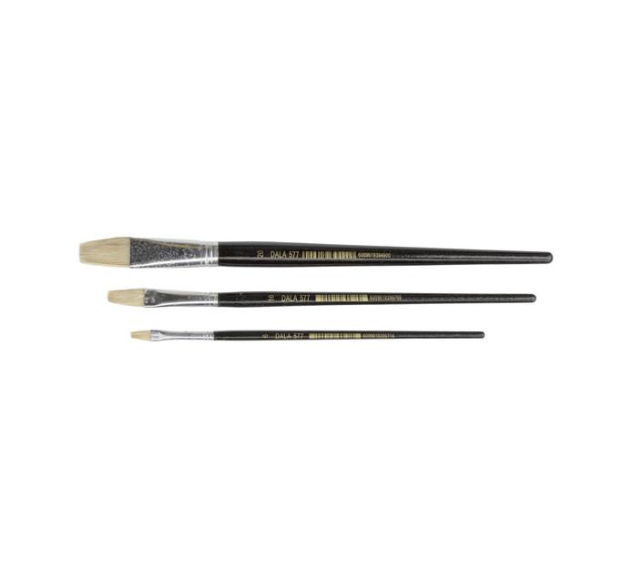 Dala Flat Bristle Paint Brushes 3-Pack Assorted