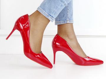 Frankie patent pu court on 8cm heel-Red