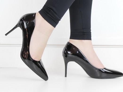 Frankie patent pu court on 8cm heel black