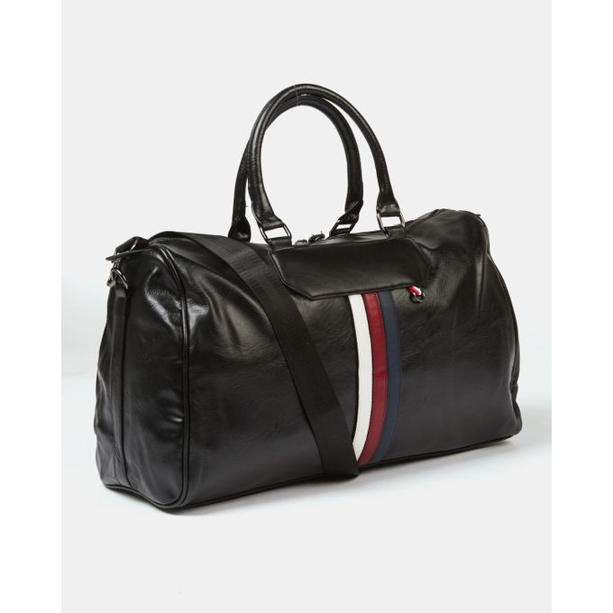 Joy Collectables Fashion Striped Duffel Bag Black