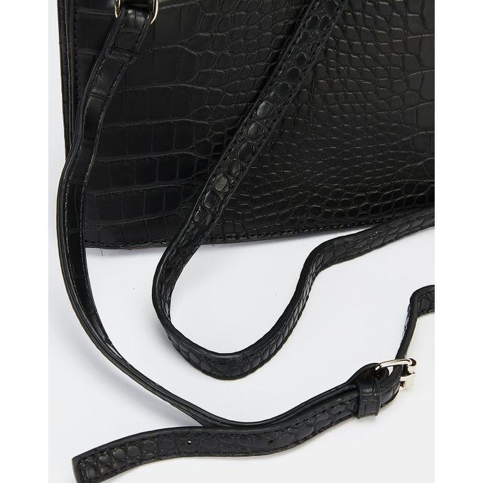 Joy Collectables Faux Croc Crossbody Bag Black.