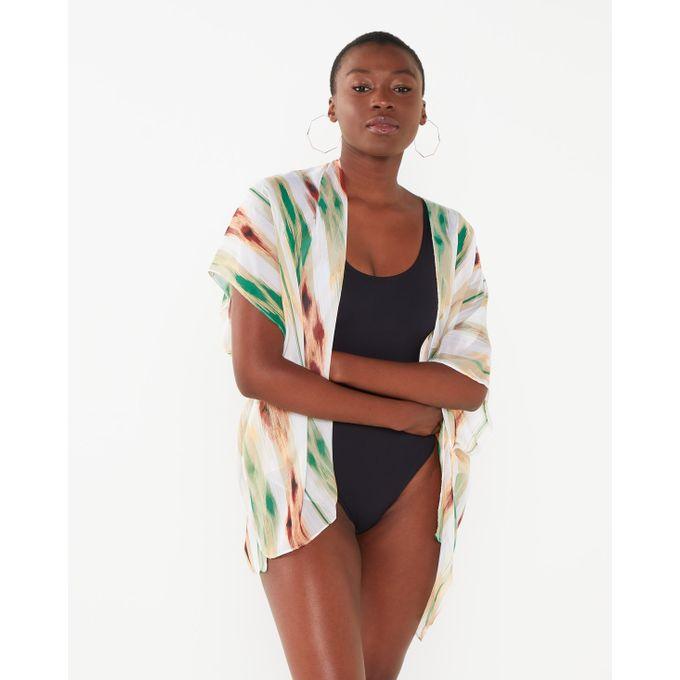 Joy Collectables Stripe Short Kaftan White-Green