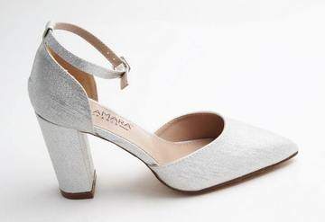 Missy open waist pointy on block heel silver