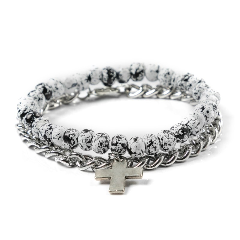 MKM 2 PACK MARBLE AND CROS CHAIN BRACELETS SILVER