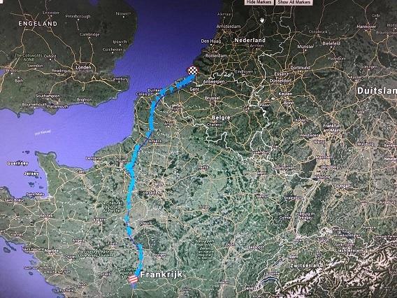De vlieglijn van één van 'de GPS-duiven' van Rieks Lonsain
