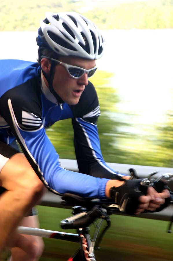 A fast image of a cyclist on a time trial/triathlon road bike<br /> ** Note: Slight blurriness, best at smaller sizes