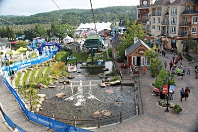 A view of the Ironman Mont Tremblant Finish Line the day before the race.