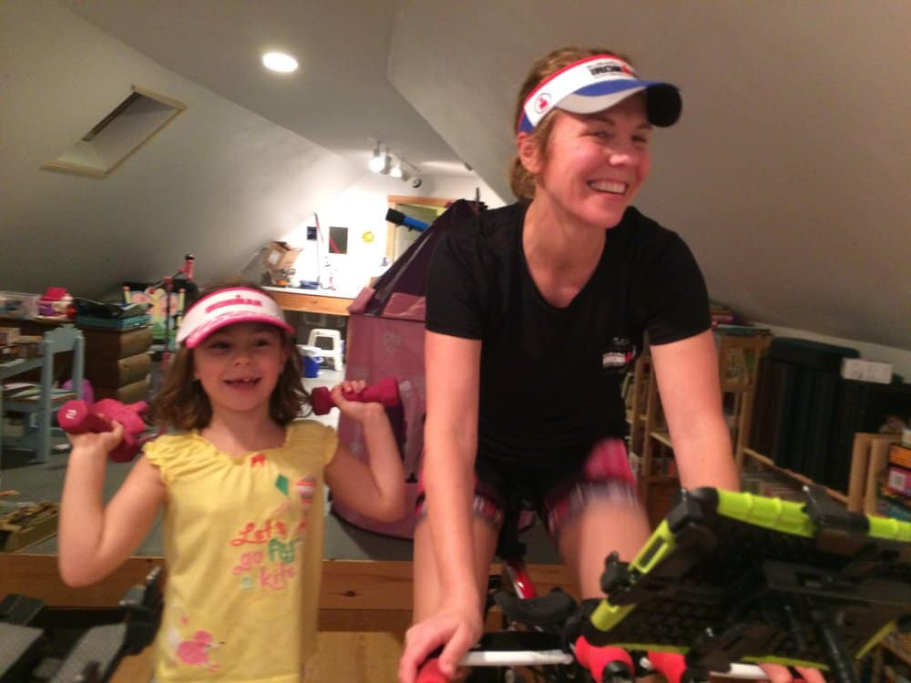Our messy, messy, mess of a playroom/exercise room...but having fun!