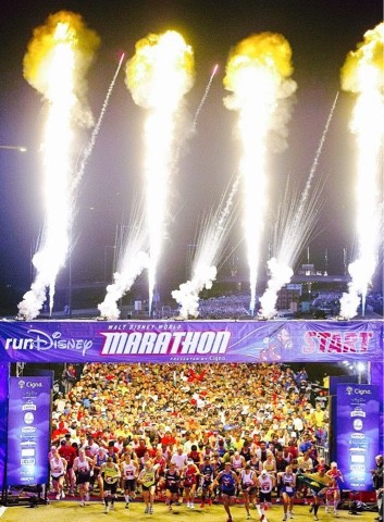 Walt Disney World Marathon Start Line with Fireworks