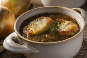 Onion and Garlic Soup with Toasted Baguette