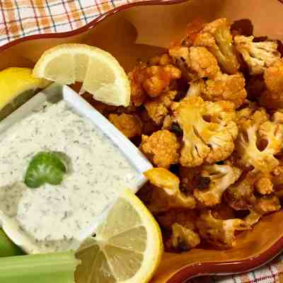 Roasted Buffalo Cauliflower & Healthy Ranch Dip