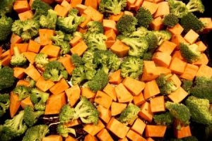 Roasted Broccoli and Sweet Potatoes in Coconut Oil