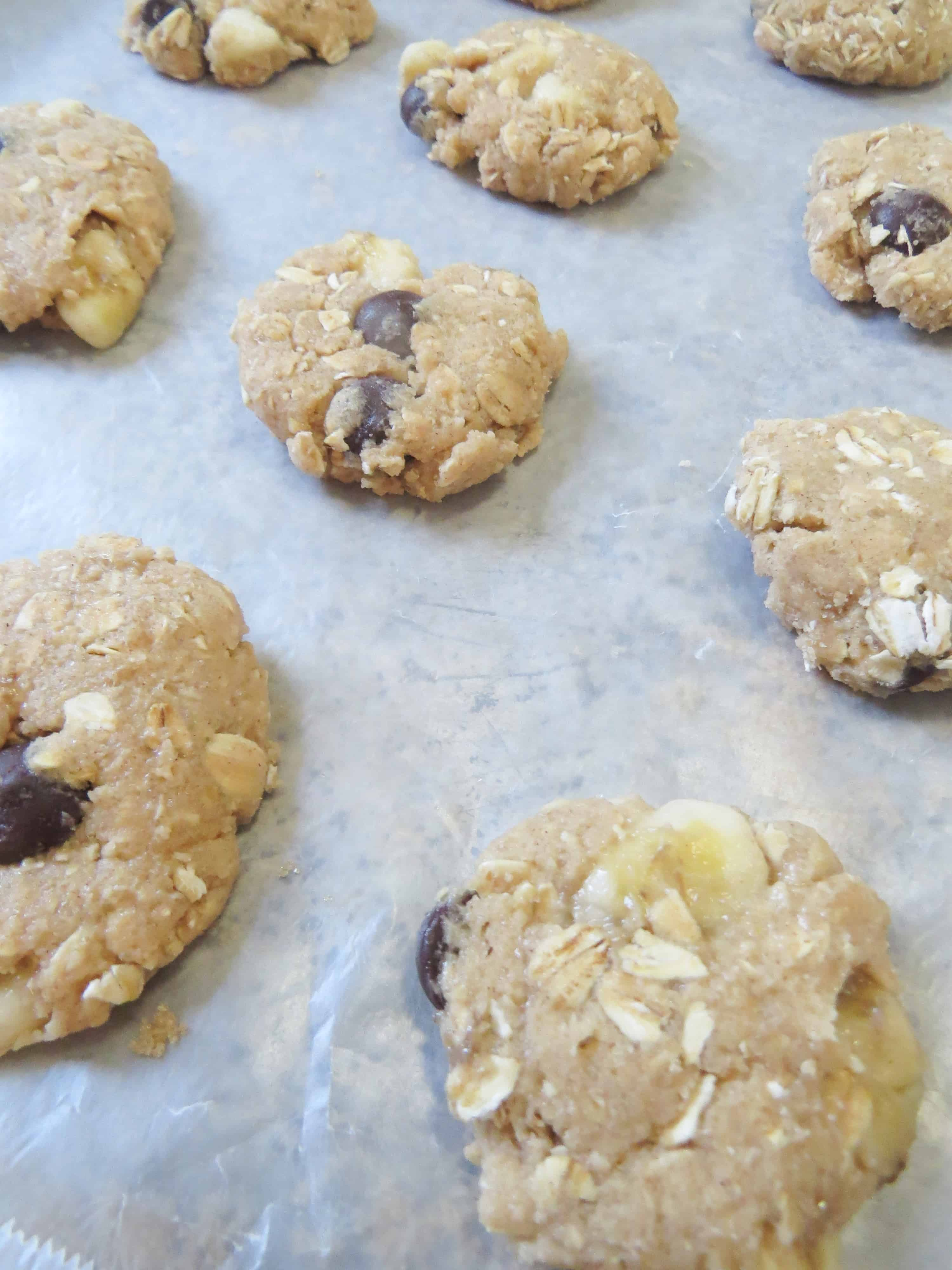 Oatmeal Banana Chocolate Chip Cookies on baking sheet