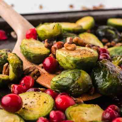 Roasted Brussels Sprouts and Cranberries with Pecans and Balsamic Vinegar