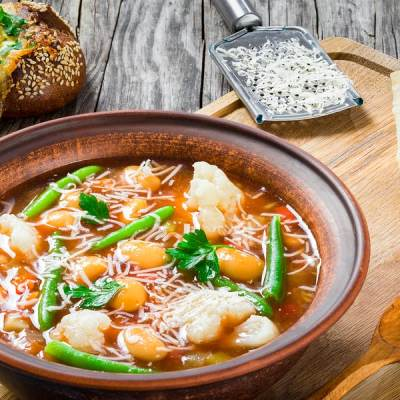 Garden Fresh Minestrone and Roasted Red Pepper Quesadillas