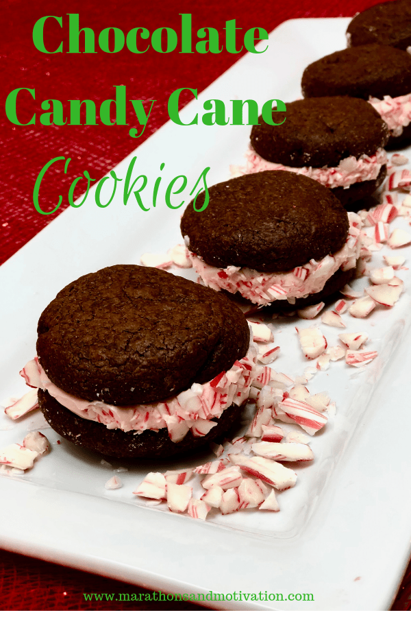 Chocolate Candy Cane Sandwich Cookies on a holiday platter with crushed candy canes