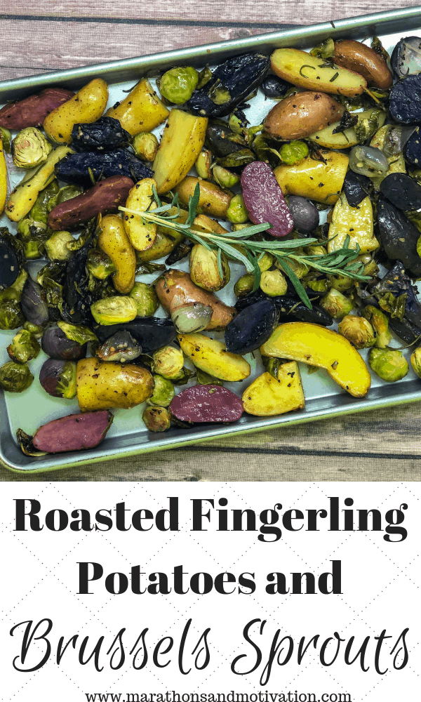 Roasted Fingerling Potatoes, Brussels Sprouts, and Shallots on a sheet pan with fresh rosemary
