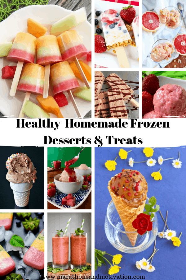 Healthy homemade frozen desserts and treats perfect for summertime! Nice-cream, sorbet, popsicles, frozen yogurt, slushies, and lemonade #summerdesserts