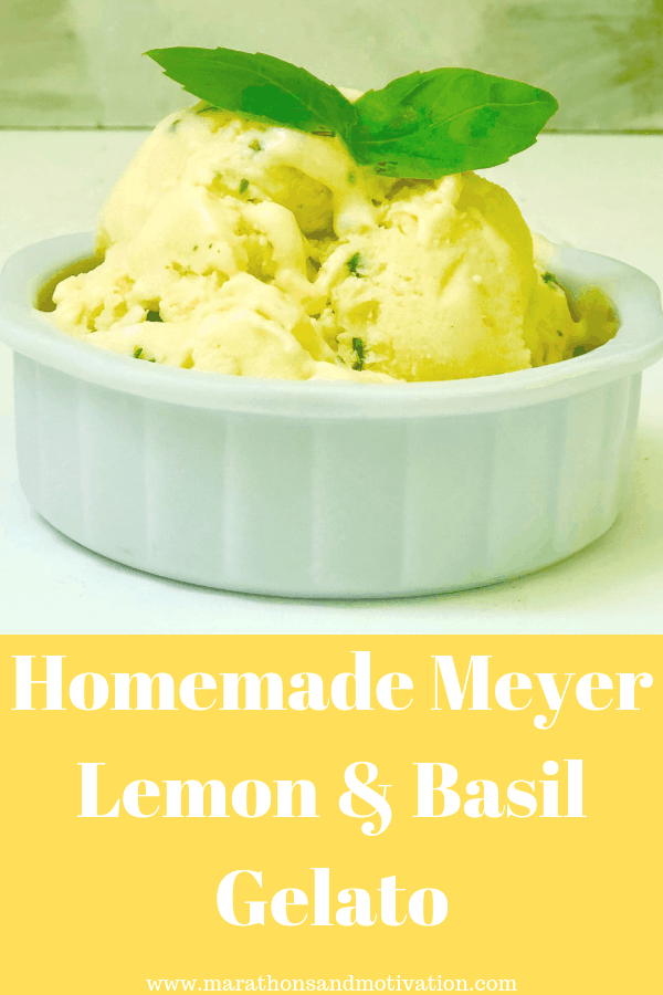 Homemade Meyer lemon and basil gelato: A delcious frozen dessert made with Meyer lemon juice and fresh basil that is perfect for summer #meyerlemons #gelato