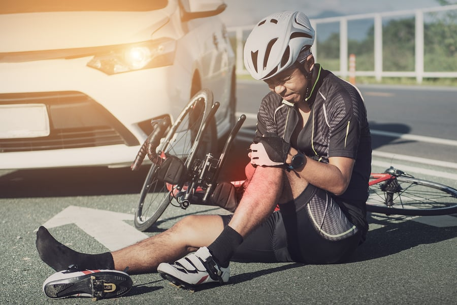 Accident car crash with bicycle on road, Asia cyclist injured on the street bike after collision accident car and bike.
