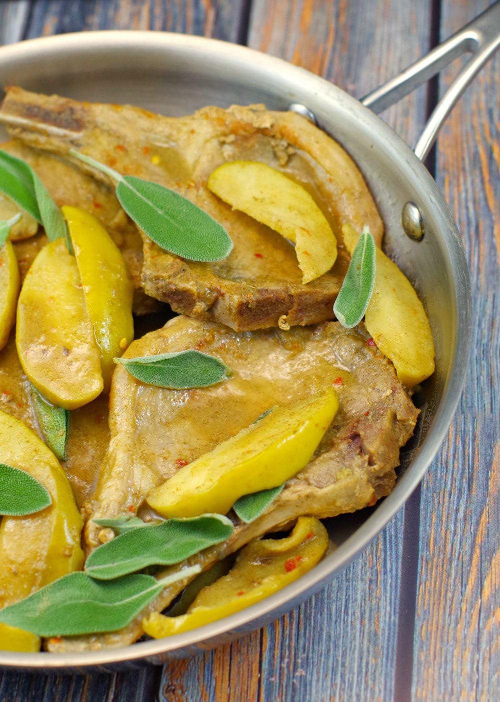 Pork Chops with apple sage sauce