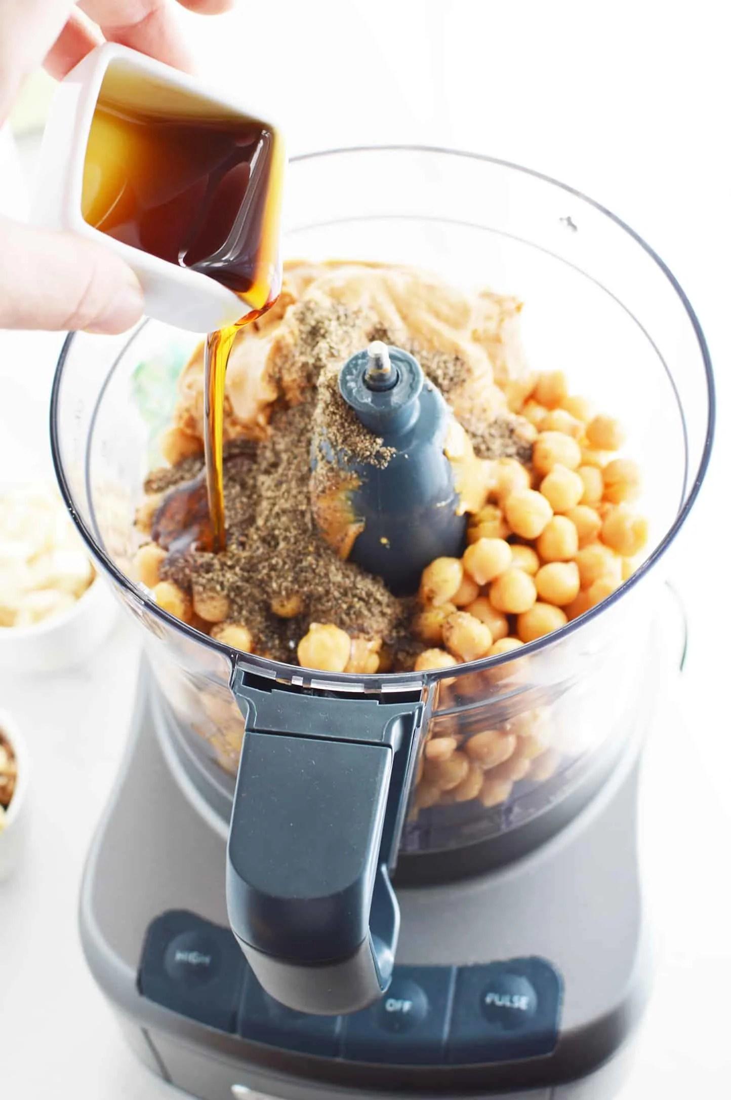 Healthy Edible Cookie Dough ingredients in a food processor.
