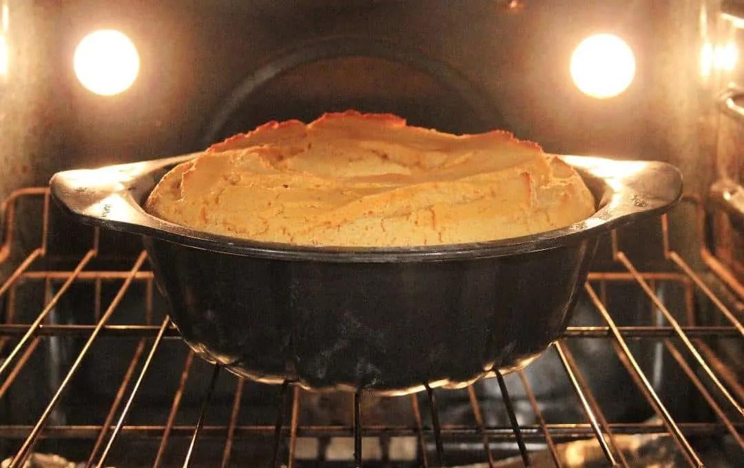 Pumpkin Angel Food Cake in the oven.