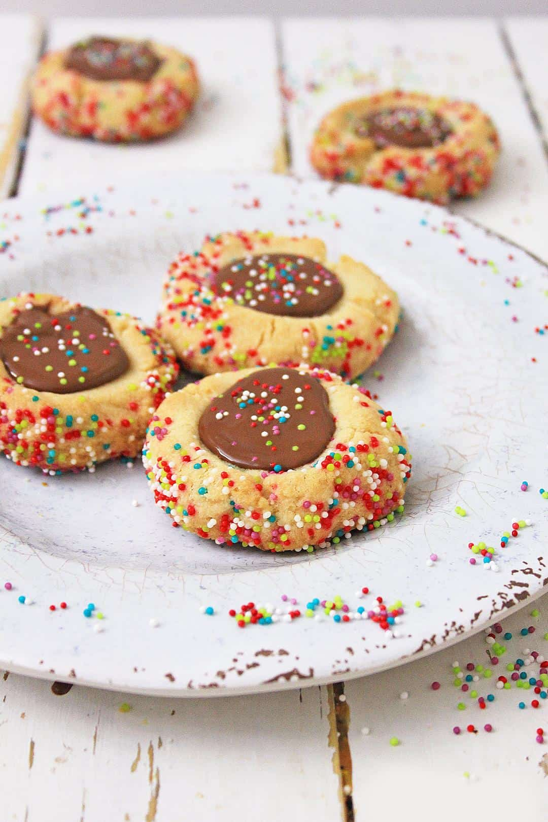 Chocolate Thumbprint Cookies with sprinkles