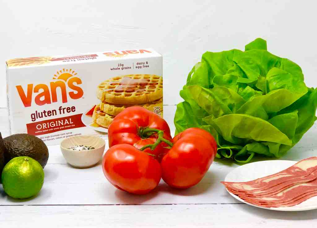 Ingredients for vegetarian bacon, lettuce and tomato waffle sandwich.