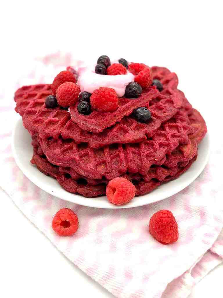 Beet and Raspberry Waffles