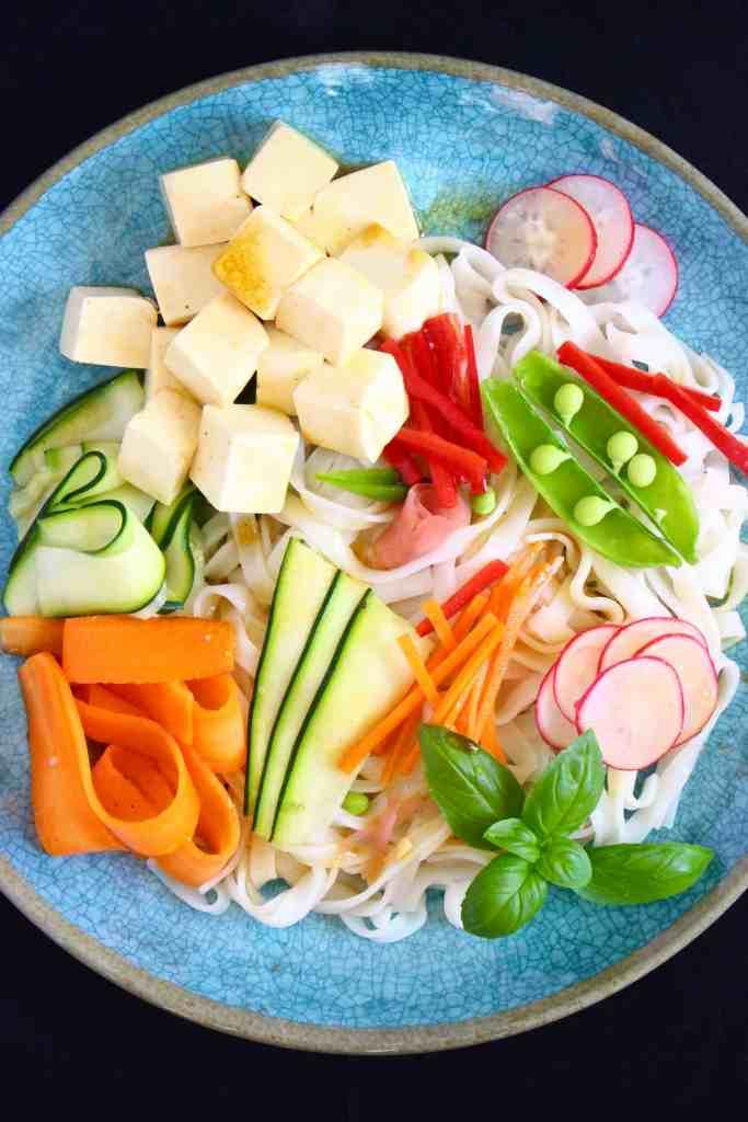 Tofu Rice Noodle Salad a vegan lunch recipe