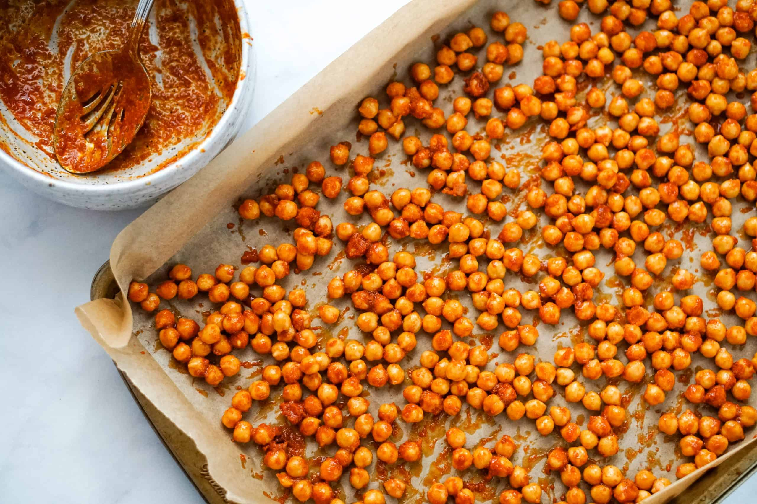 Buffalo Chickpeas on a roasting pan.