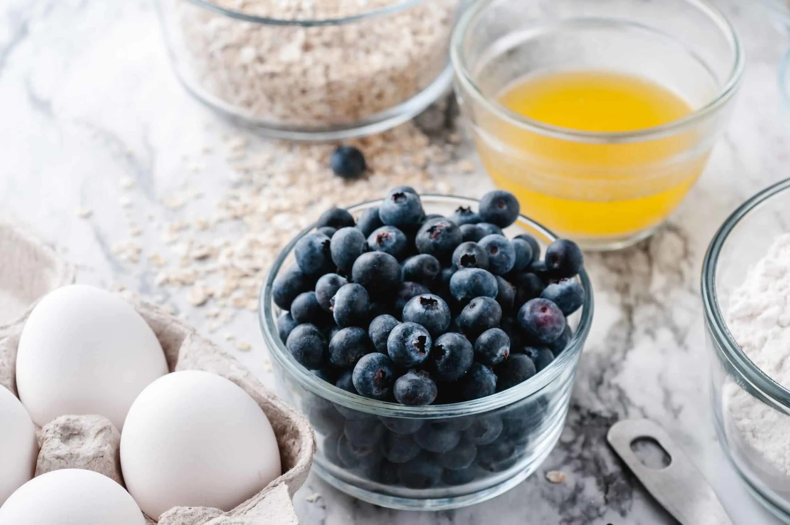 Ingredients for blueberry buttermilk muffins.