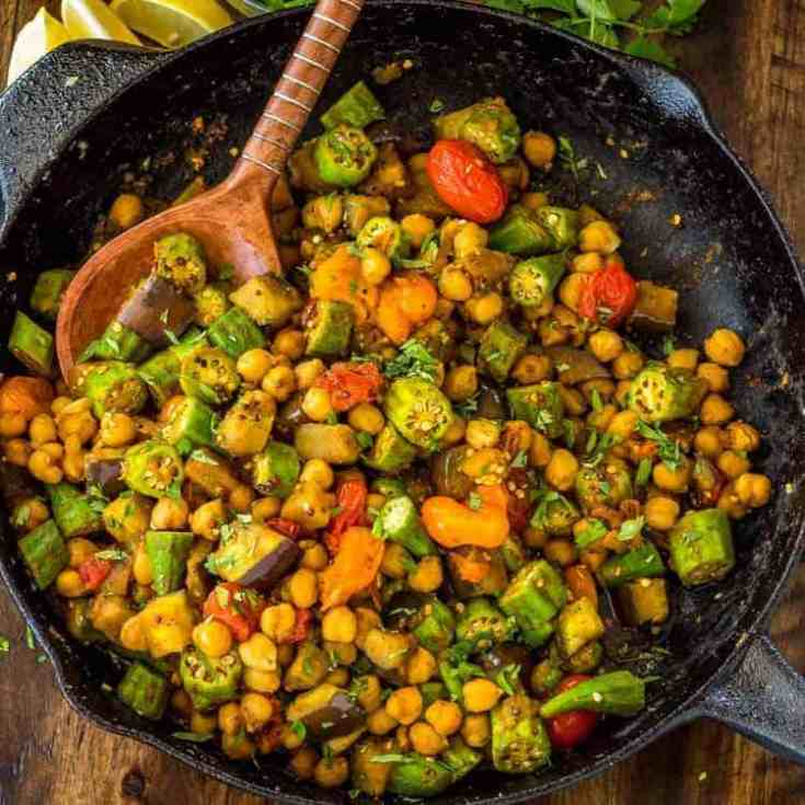Curried Okra and Eggplant