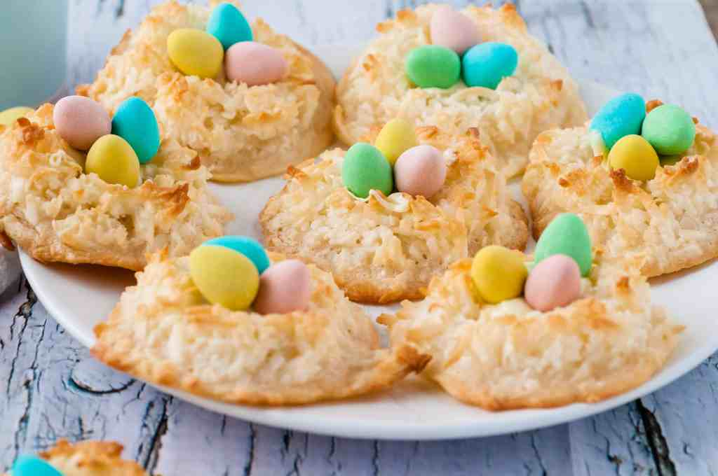 Close-up of Bird's Nest Cookies with mini Cadbury eggs in the center.