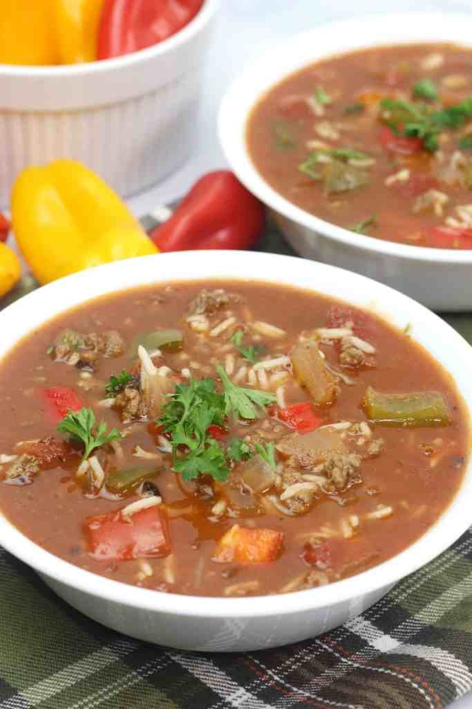 Easy Stuffed Bell Pepper Soup in white bowls.