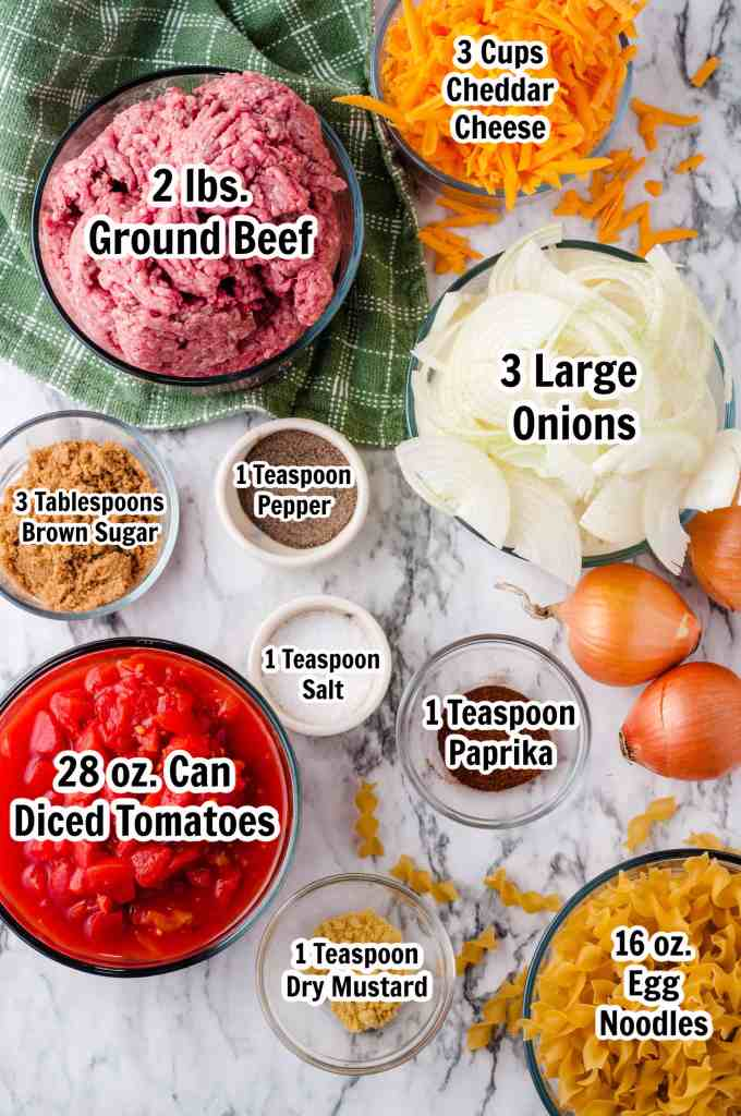Ingredients for Cheesy Beef and Noodle Casserole