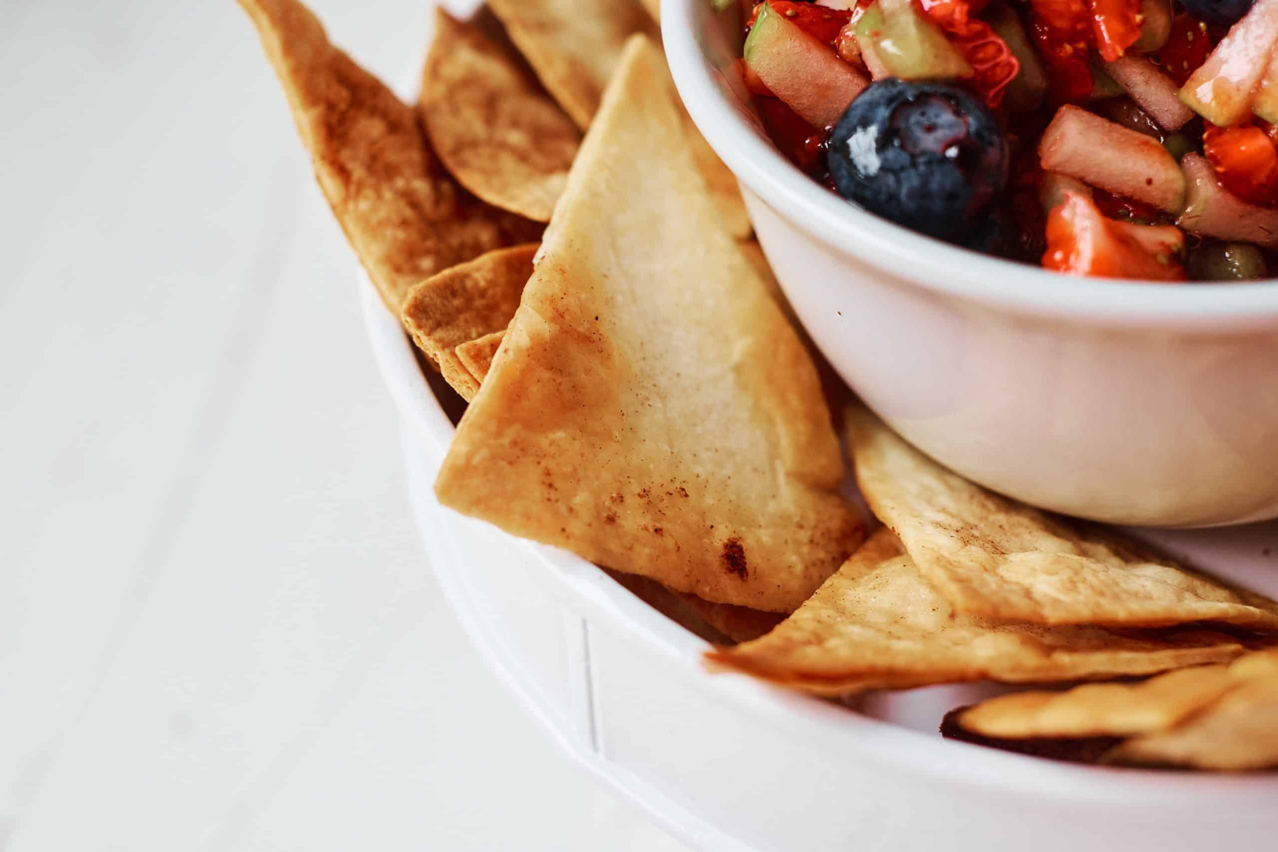 Closeup of cinnamon tortilla chips