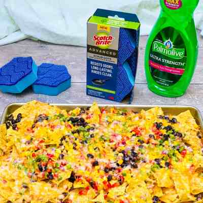 Loaded Vegetarian Nachos with Easy Cleanup!