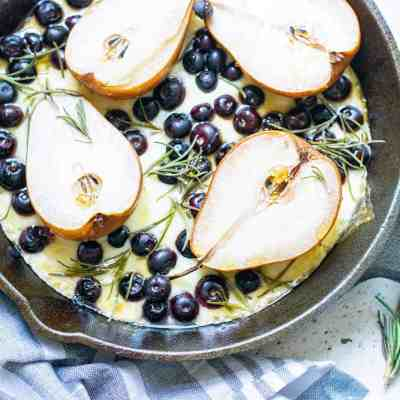 Baked Pears and Cheese with Blueberries