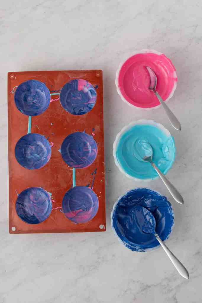 Swirled candy melts in silicone mold.