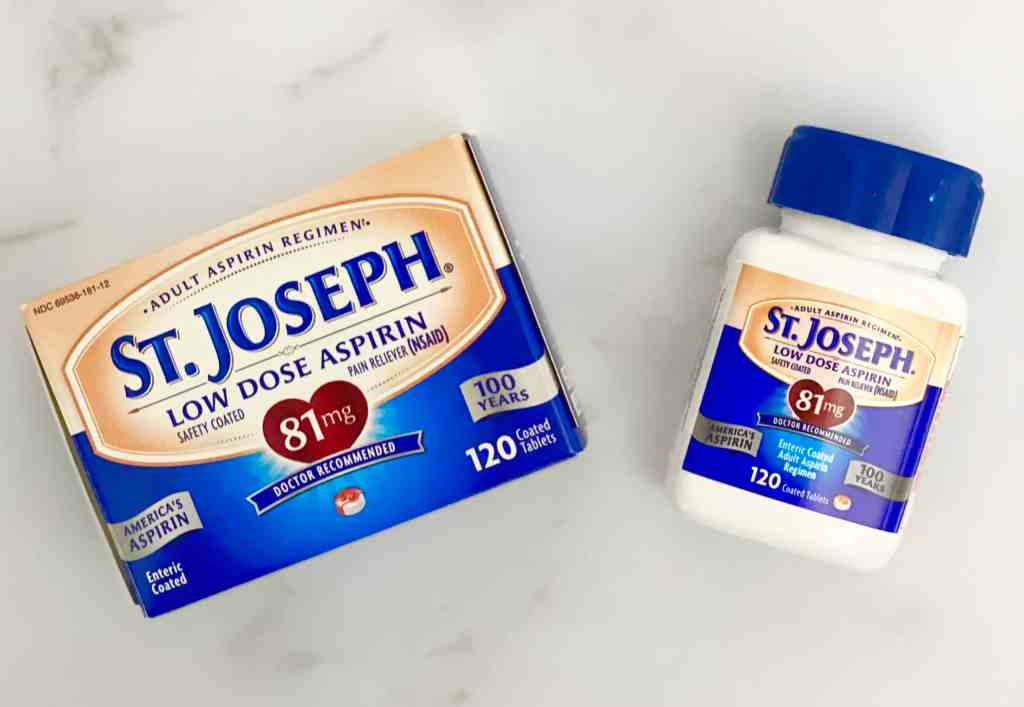 Overhead photo of St. Joseph's Low Dose Aspirin.