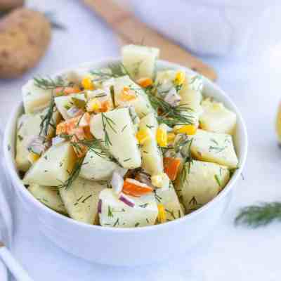 Dill Potato Salad Recipe with Corn and Peppers