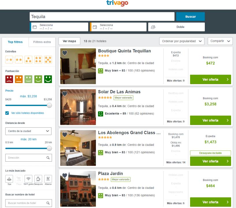 trivago buscar hoteles