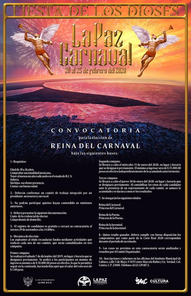 convocatoria reina carnaval la paz 2020