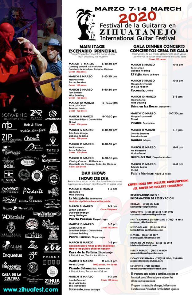 programa festival de la guitarra zihuatanejo 2020