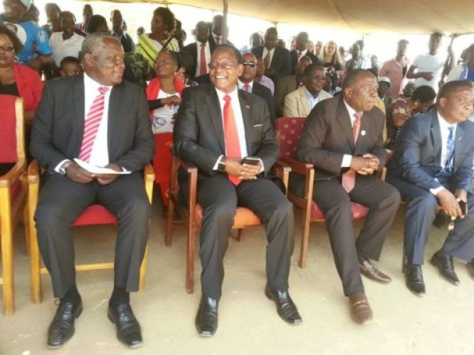 Chakwera flanked by Speaker of the national Assembly Richard Msowoya, Aford President Enoch Chihana and PP Vice President Kamlepo Kaluwa