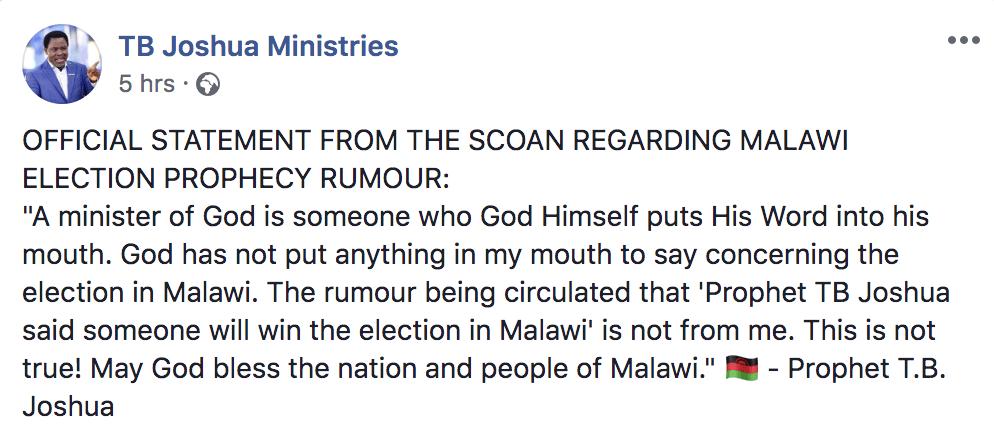 TB Joshua's denial on Malawi Elections